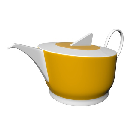 dinnerware: White and yellow ceramic tea pot, 3D illustration, isolated against a white background Stock Photo