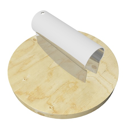 wood cutter: Stainless steel or plastic double dough cutter on a wooden cutting board, 3D illustration, isolated on a white background Stock Photo
