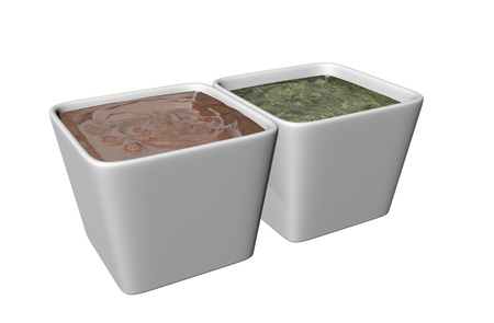 dipping: Ceramic square shaped dipping bowls with brown and green sauces, 3D illustration, isolated against a white background