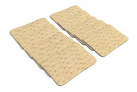fibrous: Set of rectangular wheat crackers, 3d illustration, isolated against a white background