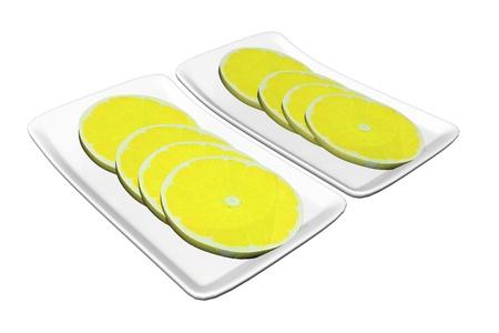 Lemon slices served on rectangular ceramic plates, 3d illustration, isolated against a white background Banco de Imagens
