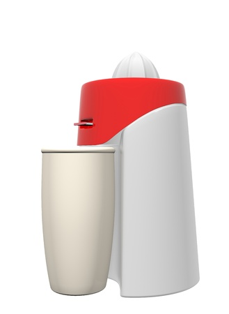healty lifestyle: Red and white juicer and tall beige glass, 3D illustration, isolated against a white background