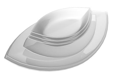 Leaf gevormde keramische schalen, 3D-illustratie, geïsoleerd tegen een witte achtergrond