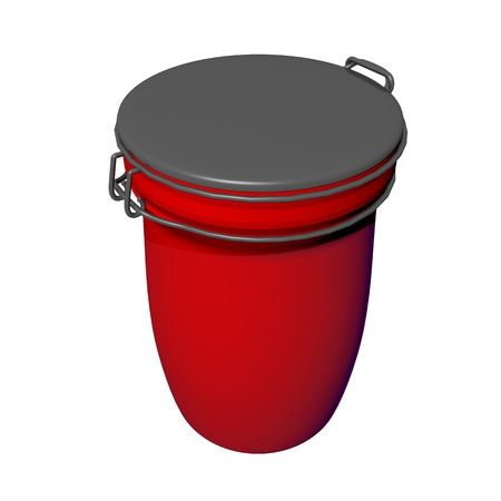 airtight: Red and grey jar with lid lock, 3D illustration, isolated against a white background