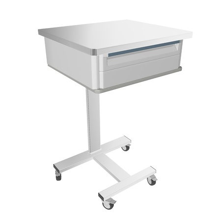 stainless: Mobile stainless metal medical over bed table with drawer, 3d illustration, isolated against a white background Stock Photo