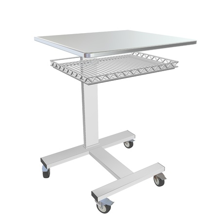 Mobile metal medical over bed table with wire mesh tray, 3d illustration, isolated against a white background Stock Illustration - 10698401