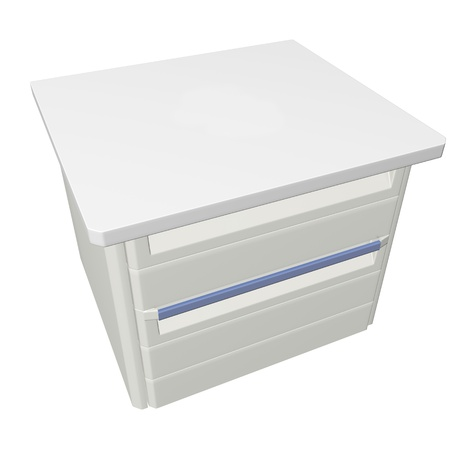 stainless: Metal medical supply or first aid cabinet, 3d illustration, isolated against a white background