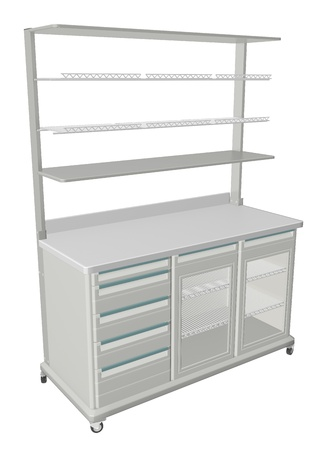 refrigerated: Mobile metal medical supply cabinet with solid and wire mesh shelves, 3d illustration, isolated against a white background. With refrigerated compartment Stock Photo