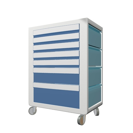 movable: Blue and grey metal medical supply cabinet with wheels, 3D illustration, isolated against a white background