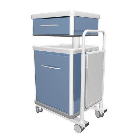Blue and white stainless metal medical supply cabinet placed on a trolley, 3d illustration, isolated against a white background Banco de Imagens