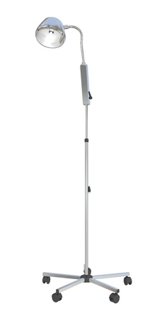 movable: Adjustable metal mobile medical stand lamp, 3d illustration, isolated against a white background Stock Photo