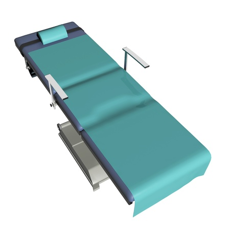 padding: Adjustable medical examination table or bed with green sheet, 3D illustration with green linen, isolated against a white background Stock Photo