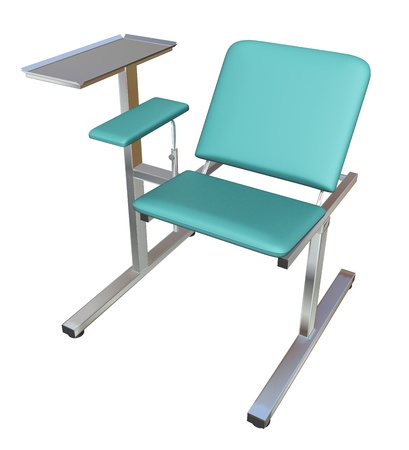 Adjustable medical examination chair with green padding, 3D illustration, isolated against a white background