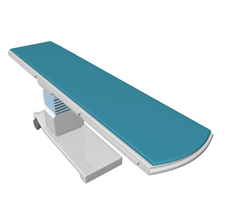 medical equipment: Adjustable height medical examination table or bed with blue padding, 3D illustration, isolated against a white background Stock Photo