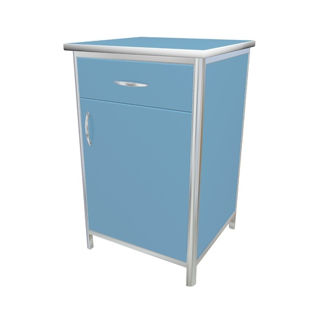 Bleu et blanc armoire d'alimentation en métal médicale, illustration 3d, isolé sur un fond blanc Banque d'images - 10698380