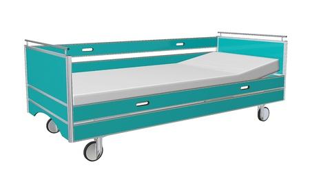 Groen en grijs mobiele Children's Hospital bed met ligstoel en aan de zijkant bewakers, 3D-illustratie, geïsoleerd tegen een witte achtergrond Stockfoto