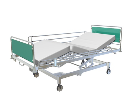 Green and grey mobile adjustable hospital bed with recliner and side guards, 3D illustration, isolated against a white background