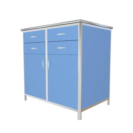Bleu et métallique en acier inoxydable offre cabinet médical, illustration 3d, isolé sur un fond blanc Banque d'images - 10698398