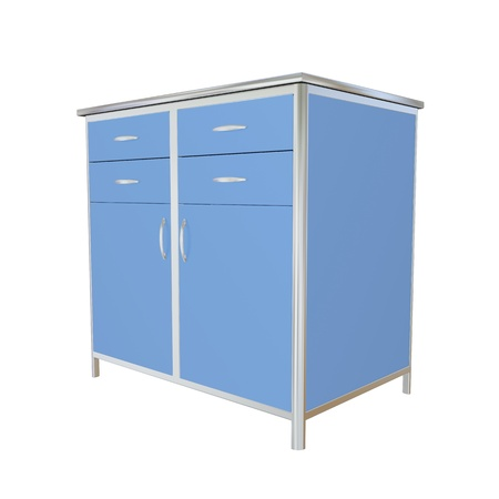 drawers: Blue and stainless steel metal medical supply cabinet, 3d illustration, isolated against a white background Stock Photo