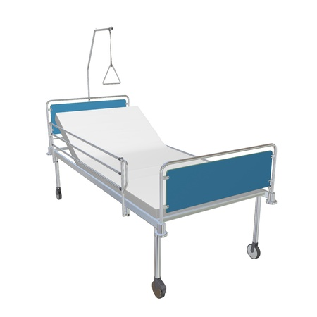 hospitals: Blue and chrome mobile hospital bed with recliner, 3d illustration, isolated against a white background