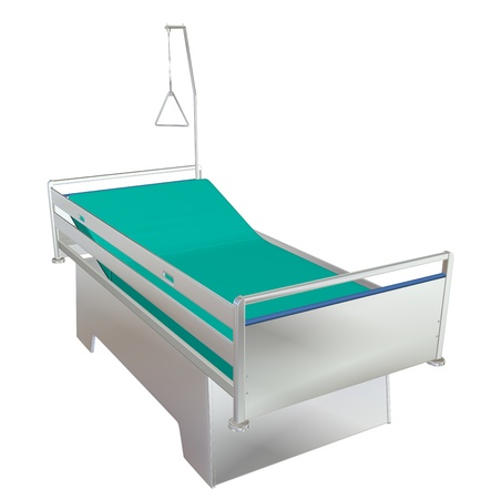 padding: Green and grey mobile childrens hospital bed with recliner and side guards, 3D illustration, isolated against a white background Stock Photo