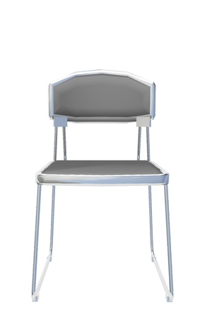 stainless: Modern simple grey metallic chair, isolated against a white background.