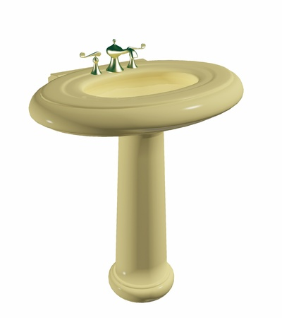Modern cream colored washbasin or sink on a stand, with golden faucet, isolated against a white background photo