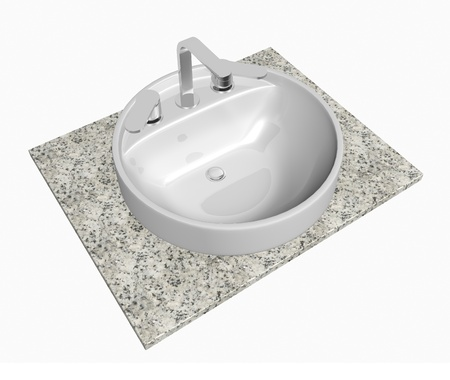 White round sink with chrome faucet, sitting on a granite table or slab, isolated against a white background Stock Photo