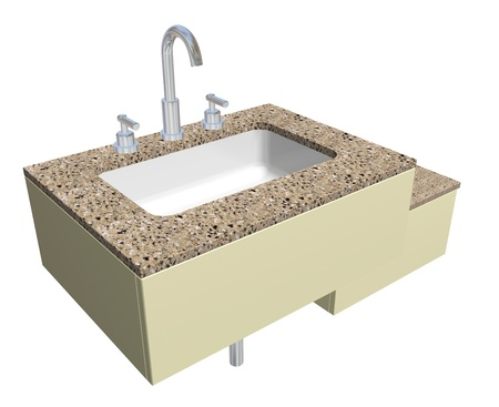 White built-in square bathroom sink with chrome faucet and plumbing fixtures, with a granite countertop, isolated against a white background. photo