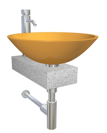 Orange bowl glass or ceramic sink with chrome faucet and plumbing fixtures, sitting on a granite table or slab, isolated against a white background photo