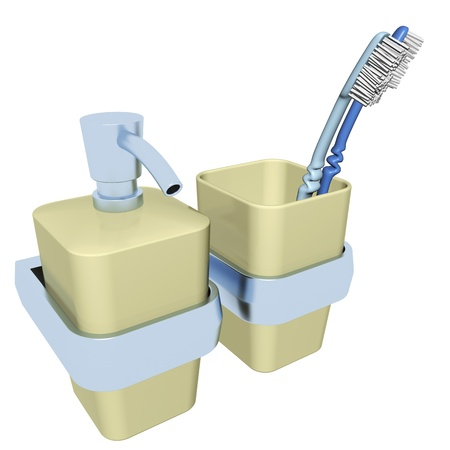 Plastic soap dispenser with a chrome pump and stripe and a plastic glass with a chrome strip, with two toothbrush 3D illustration, isolated against a white bacground