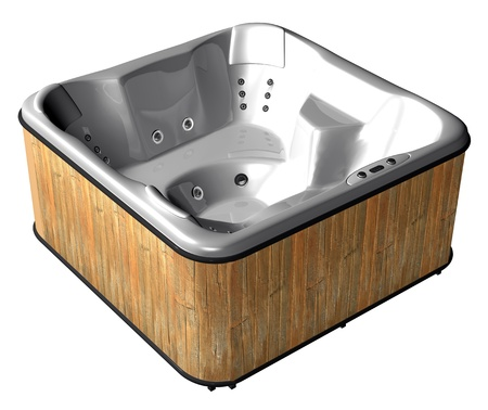 A six place outdoor spa with a wooden planks casing, isolated against a white background Фото со стока - 10695631