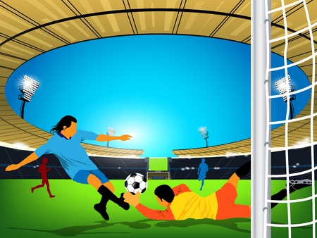 Illustration of a soccer game in an outdoor stadium. Blue team player is having a shot at the goal and goaler of red team trying to stop the kick from reaching the goal. illustration