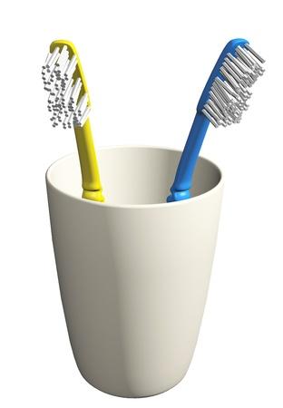 Due spazzolini da denti in un bicchiere semplice, illustrazione 3D, isolato su uno sfondo bianco. Archivio Fotografico - 10698479