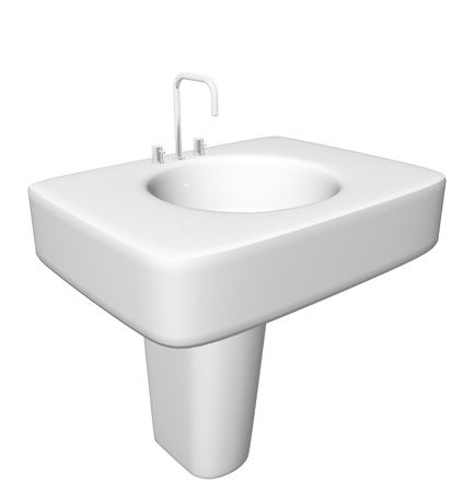Modern washbasin or sink with faucet and plumbing fixtures hidden, isolated against a white background. photo