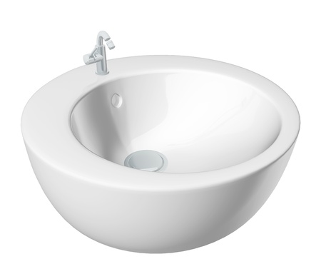 Modern round washbasin or sink, cream colored, isolated against a white background. photo