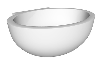 Modern egg-shapped washbasin or sink, isolated against a white background. photo