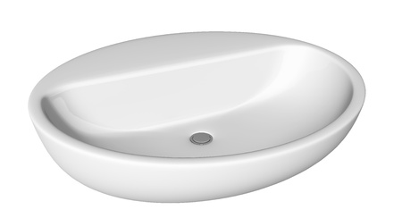 Egg-shapped and shallow washbasin or sink, isolated against a white background. photo