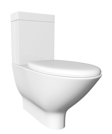 Modern white ceramic and acrylic toilet bowl and lid, isolated against a white background. 3D illustration illustration