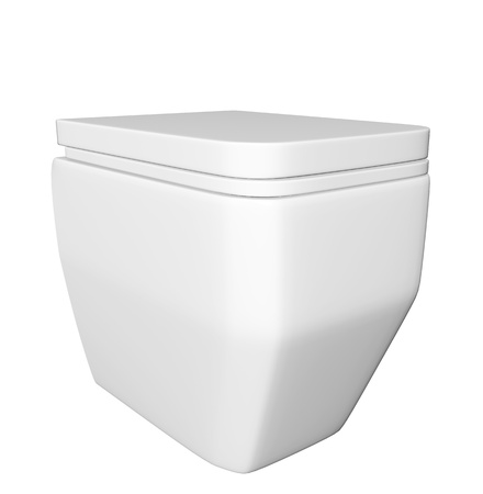 Modern square white ceramic and acrylic toilet bowl and lid, isolated against a white background. 3D illustration Stock Illustration - 10698286