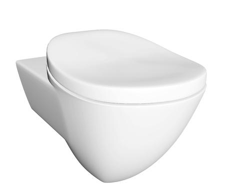 Modern white ceramic and acrylic toilet bowl and lid, isolated against a white background. 3D illustration Stock Illustration - 10698312