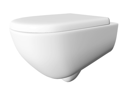 Modern white ceramic and acrylic toilet bowl and lid, isolated against a white background. 3D illustration Stock Illustration - 10698298