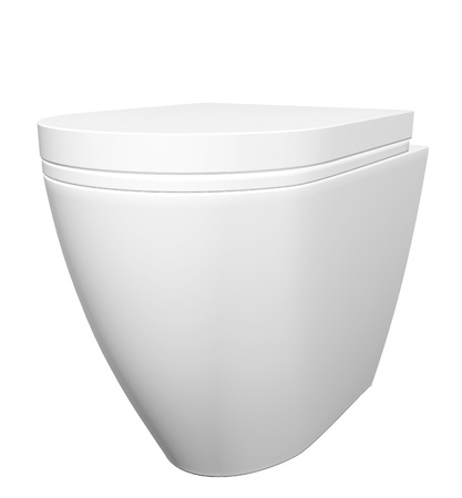Modern white ceramic and acrylic toilet bowl and lid, isolated against a white background. 3D illustration Stock Illustration - 10698405