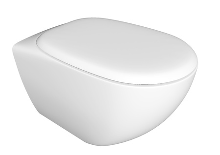 Modern white ceramic and acrylic toilet bowl and lid, isolated against a white background. 3D illustration Stock Illustration - 10698342