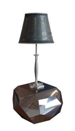 Zwarte lamp met lampenkap zit op een metalen of glazen, zilveren voetstuk. 3D illustratie tegen een witte achtergrond