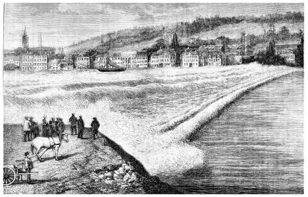 seine: The bar of the Seine, vintage engraved illustration. Magasin Pittoresque 1875.