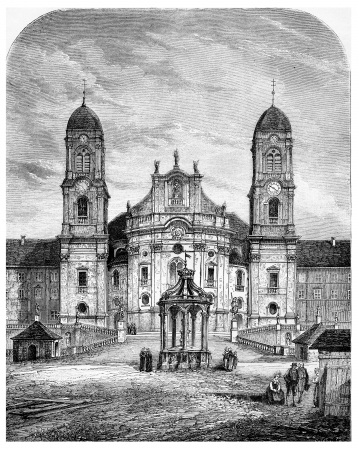 our: Our Lady of the Hermits (Einsiedeln, Switzerland), vintage engraved illustration. Magasin Pittoresque 1875.