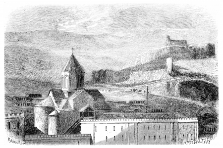 Mtskete Church, near Tiflis, vintage engraved illustration. Magasin Pittoresque 1875. Stock Illustration - 13708166