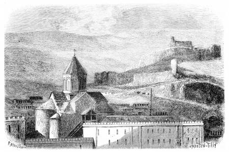 popular belief: Mtskete Church, near Tiflis, vintage engraved illustration. Magasin Pittoresque 1875.