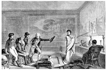 A conference. Facsimile of the frontispiece of the tables of the universe and of human knowledge (1802), vintage engraved illustration. Magasin Pittoresque 1875.